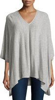 Neiman Marcus Cashmere Featherweight Poncho, Heather Gray