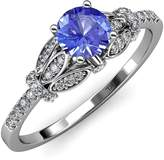 TriJewels Tanzanite and Diamond (SI2-I1, ) Engagement Ring 1.20 ct tw in 14K White Gold.size 5