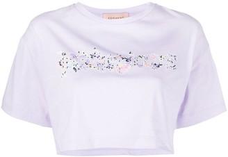 Ermanno Ermanno Cropped Floral Logo-Print T-Shirt