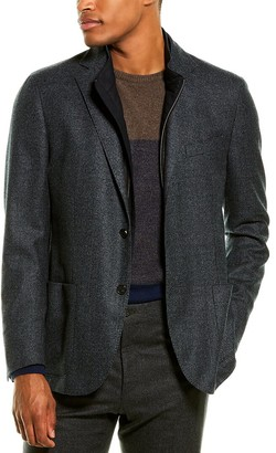 Corneliani Leather-Trim Wool Sport Coat