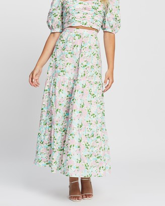 Atmos & Here Atmos&Here - Women's Multi Midi Skirts - Clover Cotton Tiered Skirt - Size 6 at The Iconic