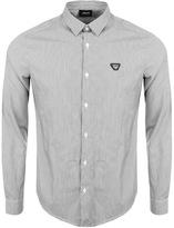 Giorgio Armani Jeans Slim Fit Striped Shirt Black