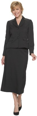 Le Suit Women's Melange 3-Button Jacket & Column Skirt Suit