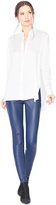 Alice + Olivia Navy Front Zip Leather Legging