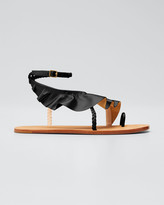 Ulla Johnson Daria Metallic Ruffle Ankle-Strap Sandals