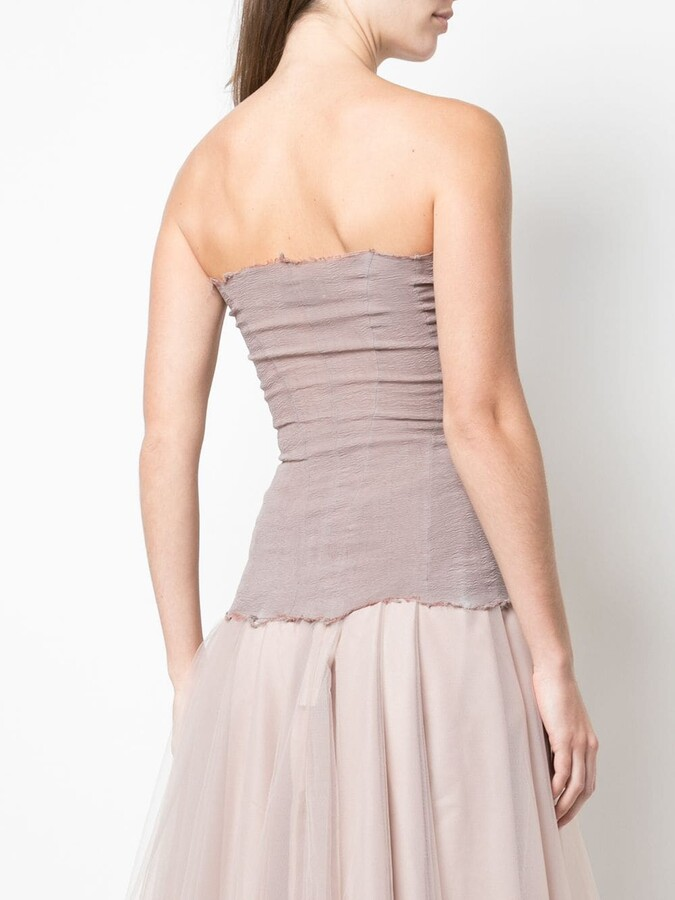 Thumbnail for your product : Marc Le Bihan Frayed Strapless Top
