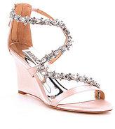 Badgley Mischka Bennet Stone-Embellished Satin Wedge Sandals