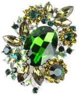 Crystal Art Designs Green Rhinstone Brooch
