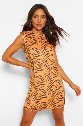 boohoo Tiger Print Shoulder Pad Tee Dress
