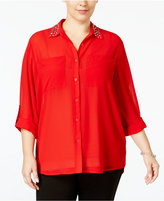 MICHAEL Michael Kors Size Embellished High-Low Blouse
