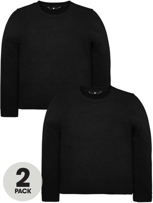 Very Unisex 2 Pack Crew Neck Sweat Tops - Black