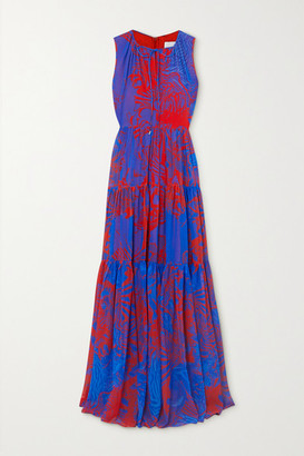 Halpern Tiered Printed Georgette Maxi Dress - Blue