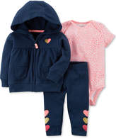 Carter's 3-Pc. Cotton Hoodie, Heart-Print Bodysuit & Pants Set, Baby Girls