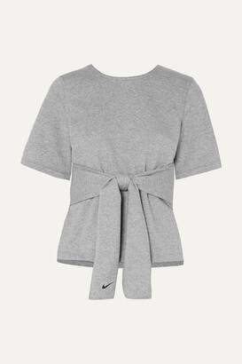 Nike Studio Tie-front Dri-fit Stretch-jersey Top - Gray