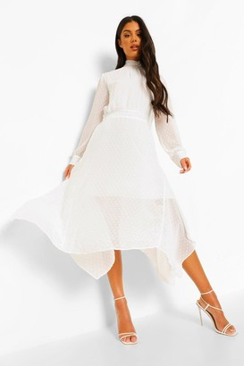 boohoo Dobby High Neck Midi Dress