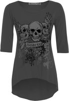Chocolate Pickle Womens Forever Young Danger Skull Print Dip Hem Tunic Tops