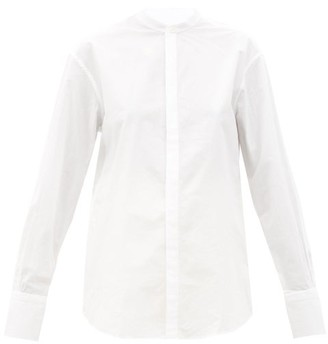 Bourrienne Paris X - V Astrale Band-collar Cotton-blend Shirt - White