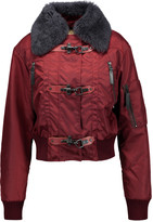 Just Cavalli Convertible leather-trimmed shearling and shell jacket
