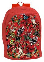 Ed Hardy Josh All Over Collage Backpack - Red