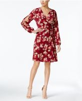 Monteau Petite Split-Sleeve Faux-Wrap Dress
