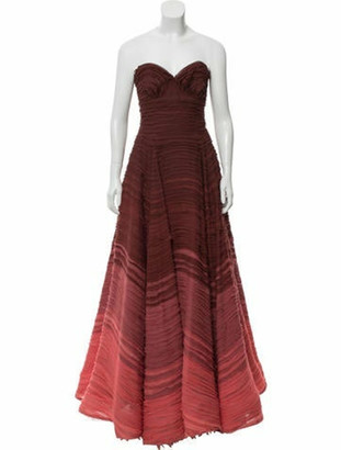 Naeem Khan Ombre Strapless Gown coral