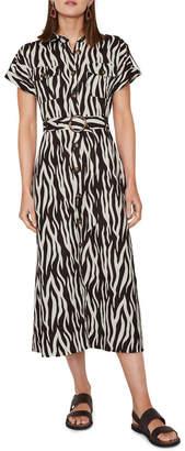 Warehouse Zebra Button Front Dress