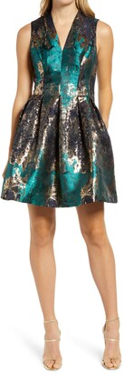 Vince Camuto Pleated Metallic Jacquard Fit & Flare Minidress