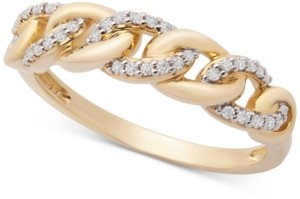 Wrapped Diamond Link Detail Statement Ring (1/6 ct. t.w.) in 14k Gold, Created for Macy's