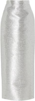 Brandon Maxwell Metallic Cotton-Blend Pencil Skirt