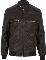 River Island Black Leather-look Bomber Jacket