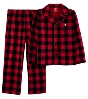 Carter's Little & Big Unisex 2-Pc. Buffalo-Check Reindeer Coat-Style Fleece Pajamas