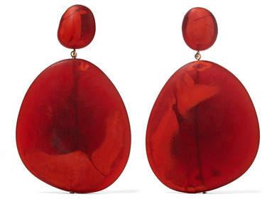 Dinosaur Designs River Stone Resin Earrings - Orange