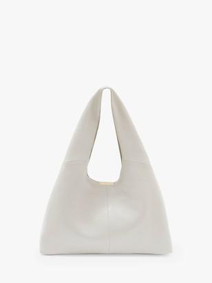 Mint Velvet Pip Leather Hobo Tote Bag, Stone