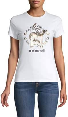 Roberto Cavalli Logo Graphic Cotton-Stretch Tee