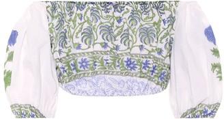 Juliet Dunn Off-the-shoulder cotton crop top