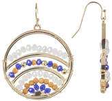 Jessica Simpson Wire-Wrapped Faceted Bead Detail Round Earrings