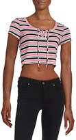 Design Lab Lord & Taylor Striped Lace-Up Knit Top