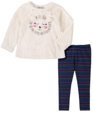 Kids Headquarters 2 Piece Little Girls Faux Fur Lion Face Top with Stripe Legging Set