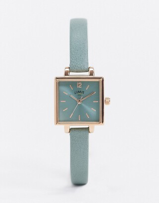 Limit square dial faux leather watch in green
