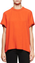 Proenza Schouler Short-Sleeve Split-Back Blouse, Electric Red