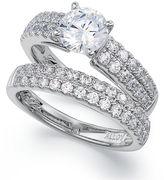 Diamond Rings Set, 14k White Gold Lucia-Cut Diamond Wedding Band and Engagement Ring Bridal Set (2 ct. t.w.)