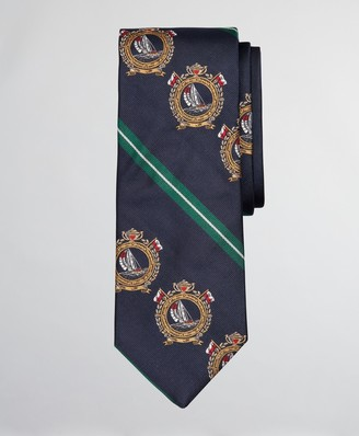 Brooks Brothers Limited Edition Archival Collection Nautical Crest and Rep Stripe Silk Tie
