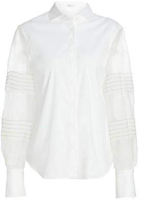 Brunello Cucinelli Monili Pleated Organza-Sleeve Shirt
