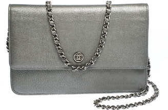 Chanel Metallic Grey Leather CC Flap Wallet On Chain