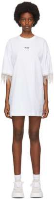 MSGM White Crystal Tassle T-Shirt Dress