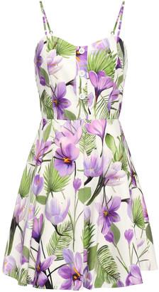 Alice + Olivia Floral-print Cotton-blend Poplin Mini Dress