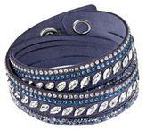 Swarovski Slake Pulse Blue Crystal-Accented Leather Wrap Bracelet
