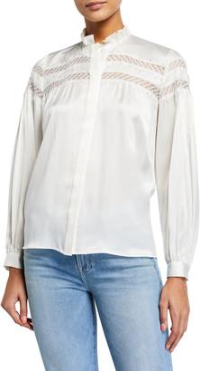 Frame Paneled Lace Long-Sleeve Silk Blouse