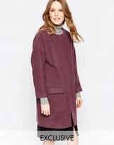 Helene Berman Zip Front Coat In Berry Marl