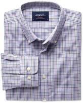 Charles Tyrwhitt Extra slim fit non-iron poplin green and pink check shirt